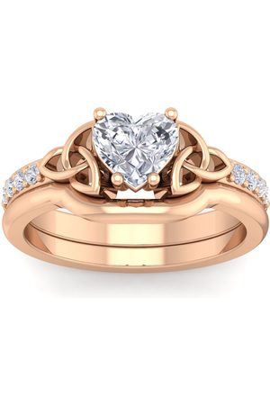 SuperJeweler 1 1/10 Carat Heart Shape Diamond Claddagh Bridal Engagement Ring Set in 14K (6.30 g) (