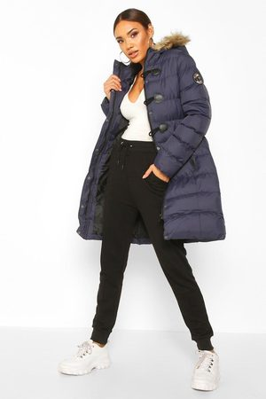 Boohoo Womens Quilted Faux Fur Hood Parka - - 4