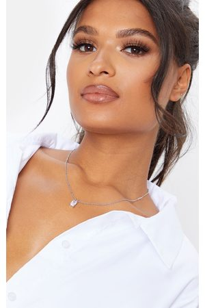 PRETTYLITTLETHING Simple Rectangle Diamante Drop Necklace