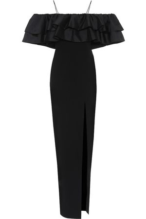 RASARIO Off-the-shoulder silk-blend gown