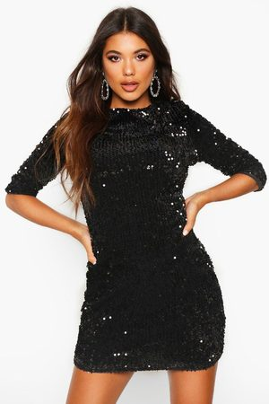 Boohoo Womens Sequin Long Sleeve Bodycon Dress - - 2