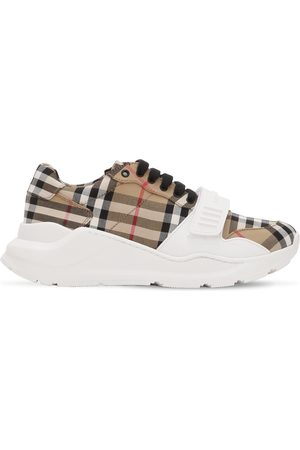 Burberry Check Regis Cotton Canvas Sneakers