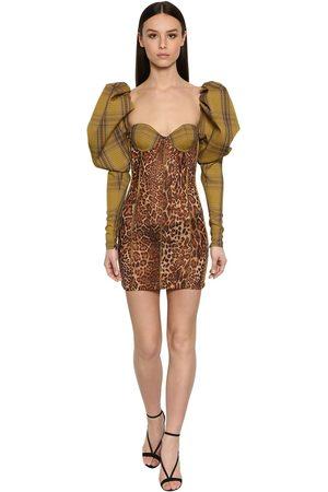 LAQUAN SMITH Printed Puffy Sleeves Tartan Mini Dress