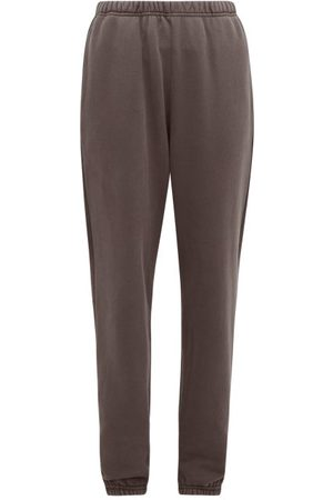 Les Tien Brushed-back Cotton Track Pants - Womens - Dark Grey