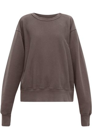 Les Tien Women Sweatshirts - Crew-neck Brushed-back Cotton Sweatshirt - Womens - Dark Grey