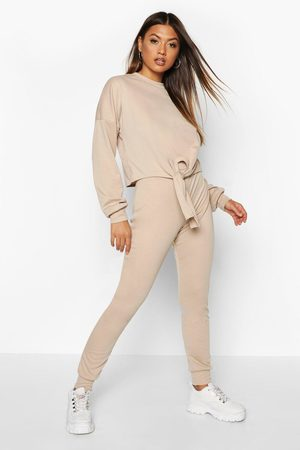 Boohoo Womens Soft Knot Front Lounge Set - - 2
