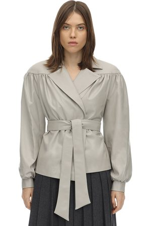 LESYANEBO Ruffled Faux Leather Jacket W/ Belt