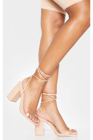 PRETTYLITTLETHING Nude Ankle Lace Up Chunky Block Heel Sandal