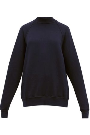 Les Tien Women Sweatshirts - High-neck Brushed-back Cotton Sweatshirt - Womens - Navy