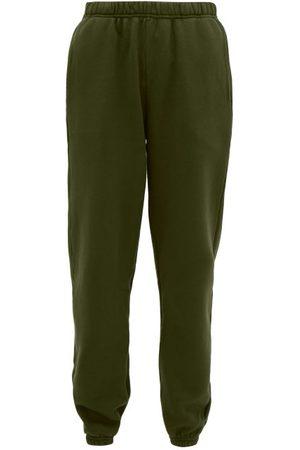Les Tien Brushed-back Cotton Track Pants - Womens - Khaki