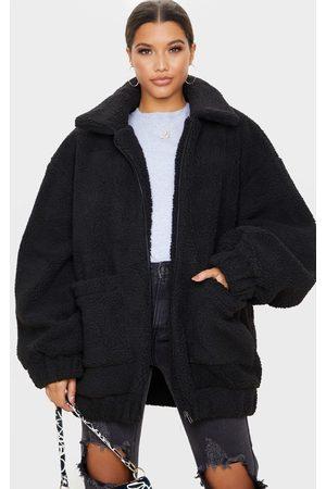 PRETTYLITTLETHING Women Coats - Oversized Borg Pocket Front Coat