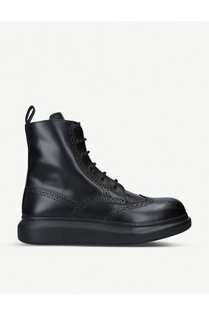 Alexander McQueen Hybrid patent-leather ankle boots