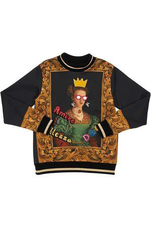 Dolce & Gabbana Girls Sweatshirts - Queen Print Cotton Sweatshirt W/ Patch
