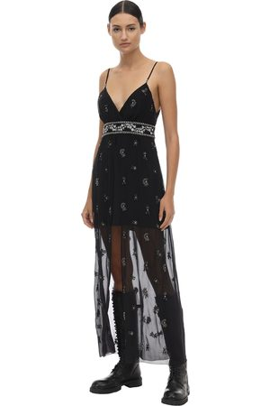 AMIRI Embellished Silk Chiffon Midi Dress