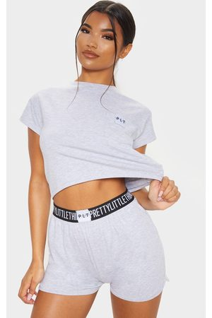 PRETTYLITTLETHING Grey PJ T shirt And Short Set