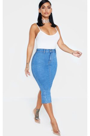 PRETTYLITTLETHING Shape Mid Wash Disco Midi Skirt
