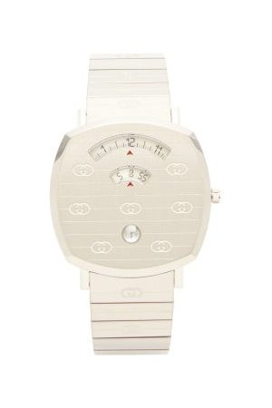 Gucci Grip Logo Engraved Stainless Steel Watch - Mens
