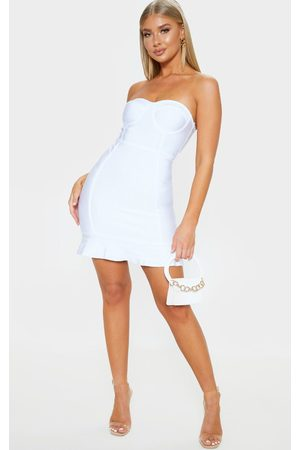 PRETTYLITTLETHING Women Bodycon Dresses - Presli Bandage Frill Hem Bodycon Dress