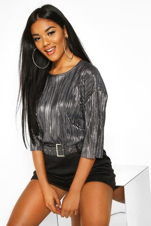 Boohoo Womens Metallic Pleat T-Shirt - - 2