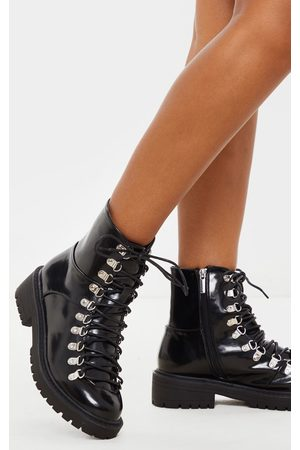 PRETTYLITTLETHING Cleated Sole Hiker Eyelet Ankle Boot