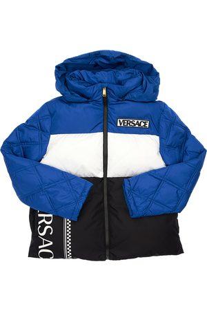 VERSACE Logo Print Nylon Down Jacket