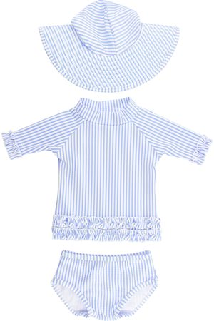 RuffleButts Infant Girl's Seersucker Two-Piece Rashguard Swimsuit & Hat Set
