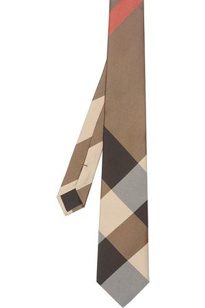 Burberry Modern cut oversized check tie - Neutrals