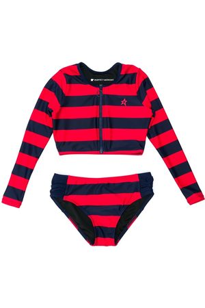 Perfect Moment Girls Bikinis - Striped longsleeved bikini set