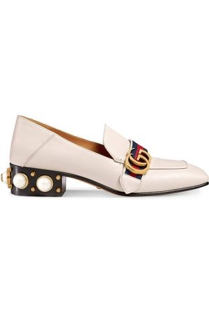 Gucci Mid-heel leather loafer - Neutrals