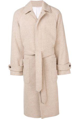 Ami Men Coats - Raglan Sleeves Belted Long Coat - Neutrals