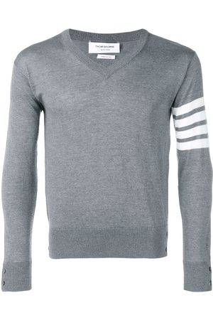 Thom Browne Men Sweatshirts - Fine merino wool V-neck jumper - Grey