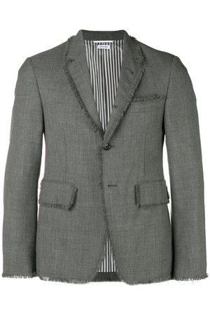 Thom Browne Frayed-edges single-breasted blazer - Grey