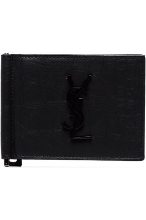 Saint Laurent Crocodile-embossed money clip wallet