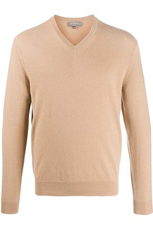 N.PEAL Men Sweaters - The Burlington V-neck jumper - Neutrals