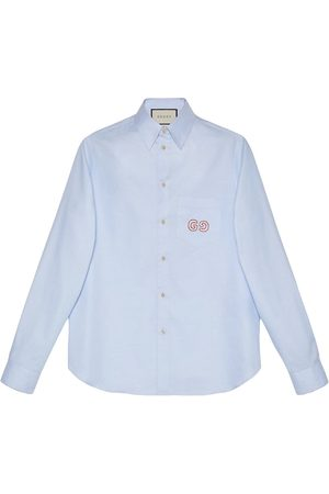 Gucci Men Shirts - Oxford cotton shirt with GG