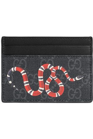 Gucci Men Wallets - Kingsnake print GG Supreme card case