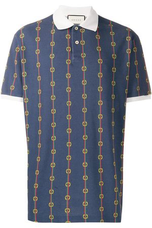 Gucci Men Polo Shirts - Horsebit chain print oversized polo shirt