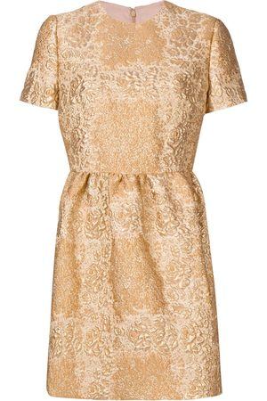 VALENTINO Metallic floral mini dress