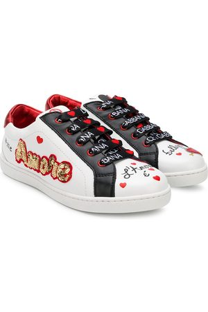 Dolce & Gabbana Girls Sneakers - Amore sequinned sneakers