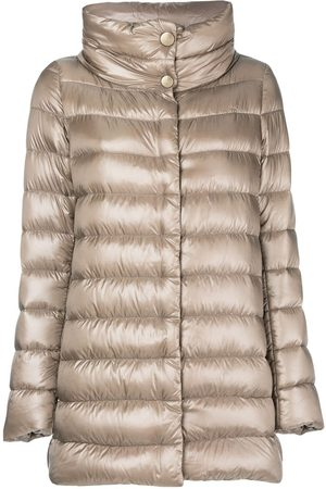 Herno Women Puffer Jackets - Funnel-neck padded coat - Neutrals