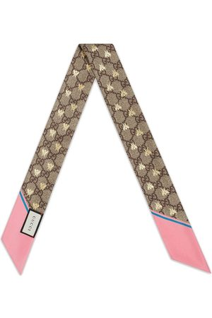 Gucci GG bees silk neck bow - Neutrals