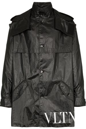VALENTINO VLTN logo waxed hooded parka