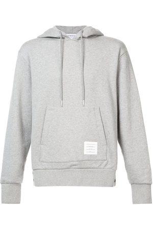 Thom Browne Men Hoodies - Center-Back Stripe Jersey Hoodie - Grey