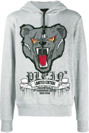 Philipp Plein Men Hoodies - Bear embroidered hoodie - Grey