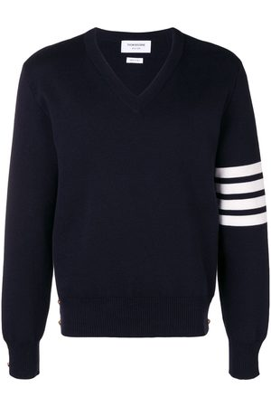 Thom Browne 4-Bar Milano Stitch V-Neck Pullover