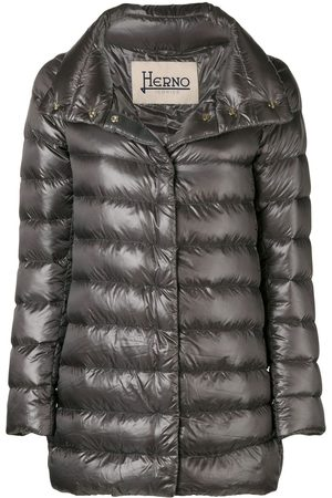 HERNO Women Puffer Jackets - Funnel-neck padded coat - Grey