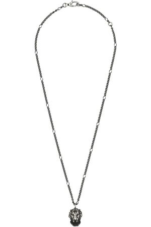 Gucci Women Necklaces - Lion head necklace with crystal - Metallic