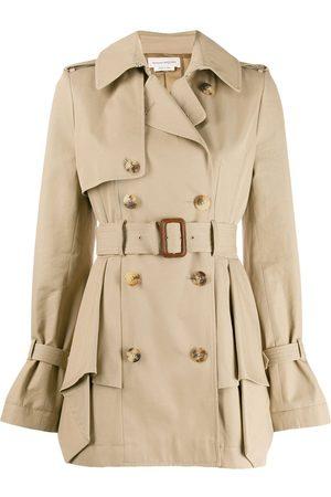 Alexander McQueen Ruffle detail trench coat - Neutrals