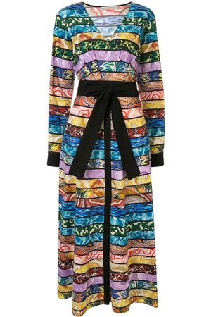 Mary Katrantzou Women Midi Dresses - Mixed-stripe wrap midi-dress - Multicolour