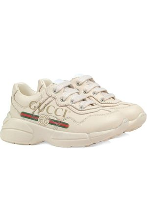 Gucci Toddler Gucci logo leather sneakers - NEUTRALS